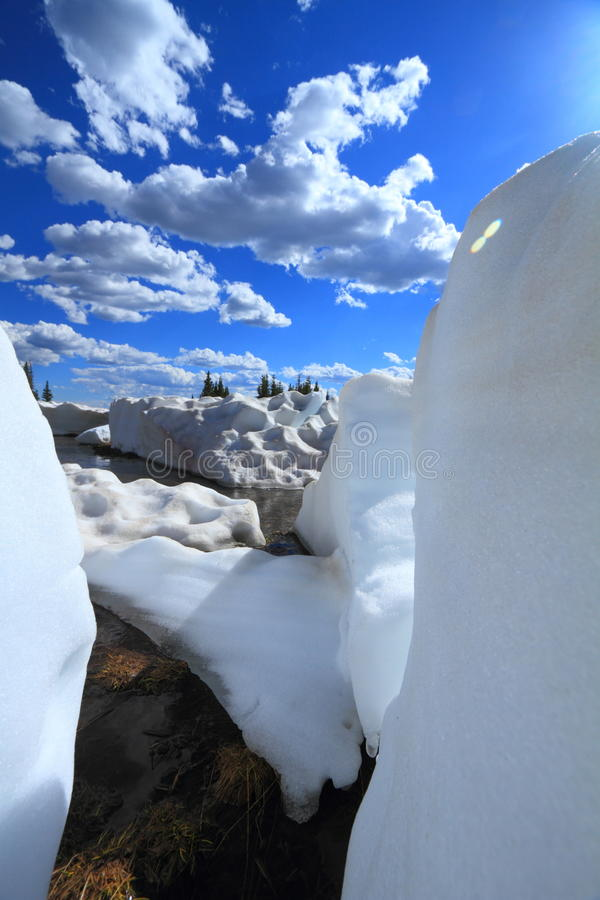 Melting Snow In The Mountains Royalty Free Stock Photos