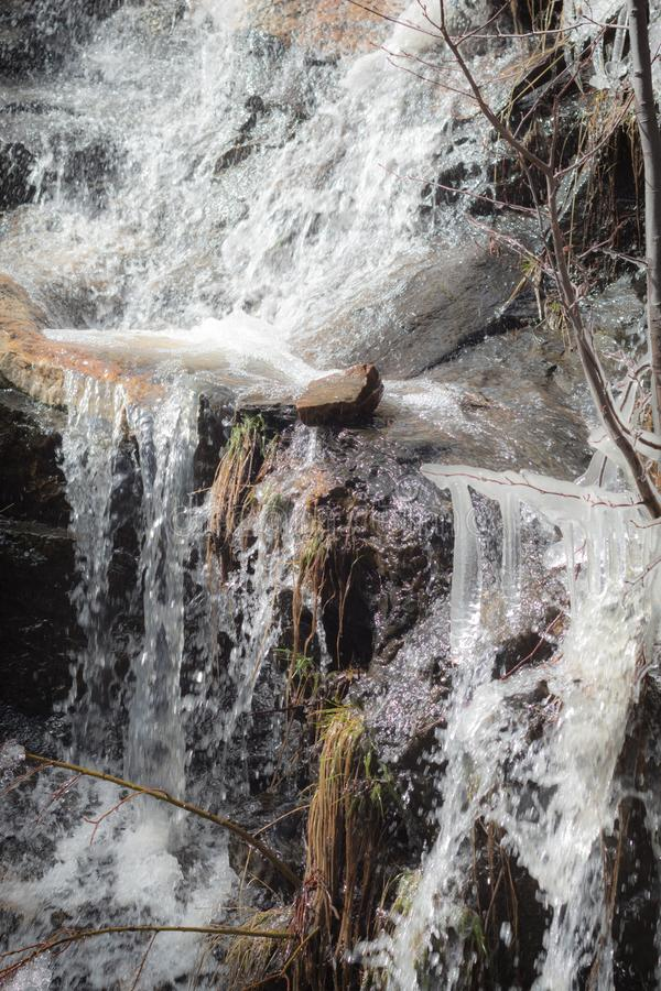 Melting snow runoff with icicles on Mount Lemmon royalty free stock photos