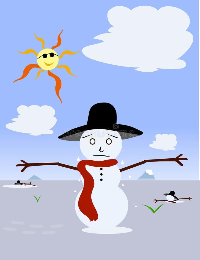 Melting Snowman vector illustration