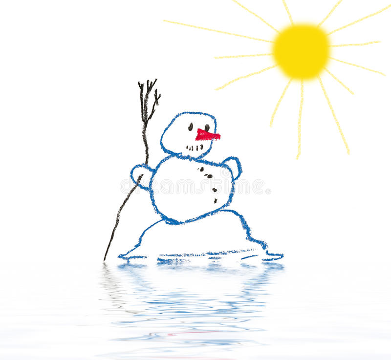 Melting snowman royalty free illustration