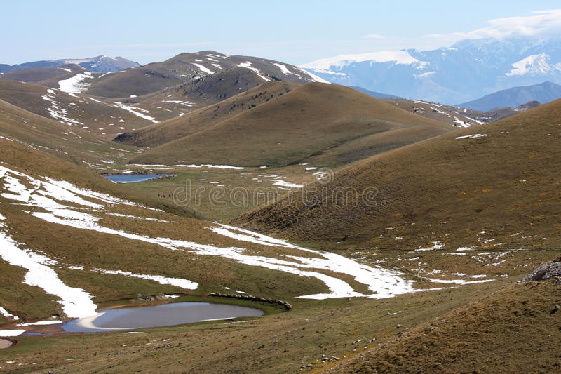 Melting water in Gran Sasso highmountains, Italy stock images