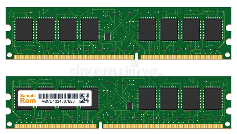 Memória de acesso aleatório real ou computador de RAM ilustração stock
