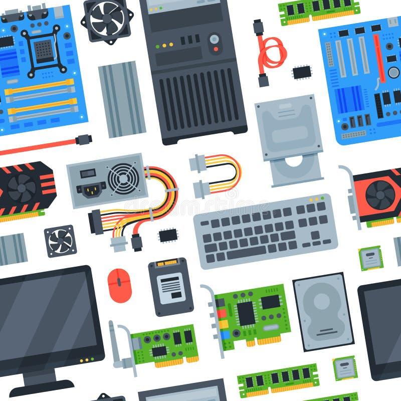 Memória do cartão-matriz do equipamento do PC do vetor dos acessórios de computador e grupo de computação da ilustração do teclad ilustração do vetor