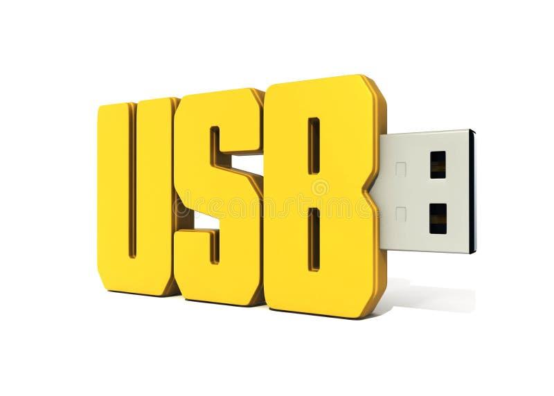 Memória Flash amarela do usb feita da palavra - usb foto de stock