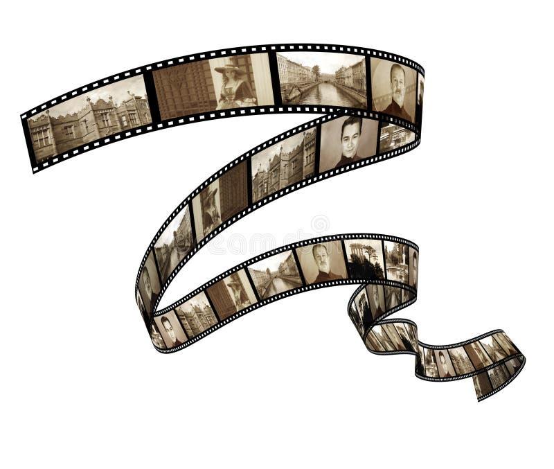 Memórias - foto retro com filmstrip ilustração stock