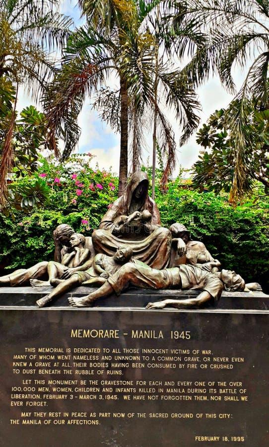 Memari - manila 1945, monumento dedicato a tutte le vite innocenti perse fotografie stock