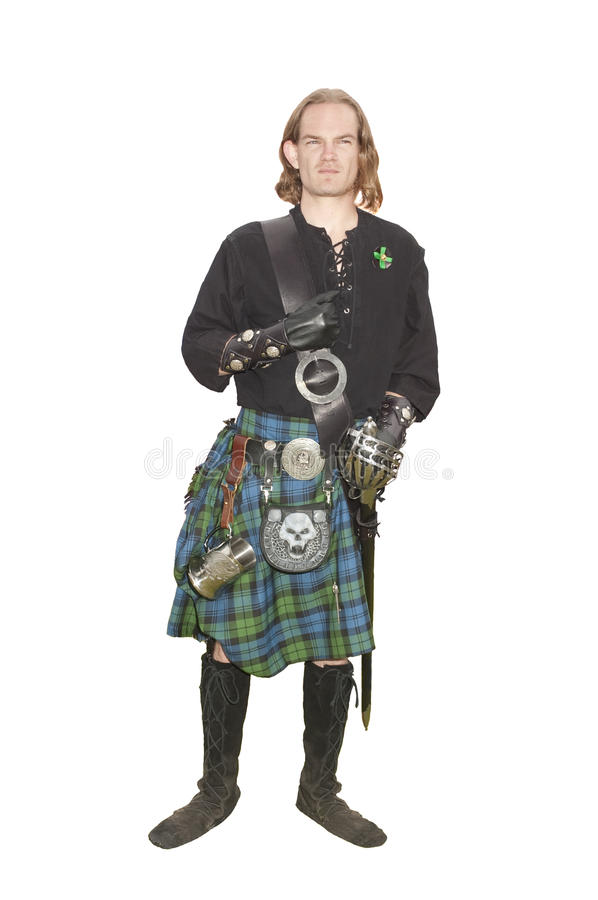 Member of the Campbell clan. Young man who is a member of the Scottish Campbell clan, isolated on white royalty free stock photo