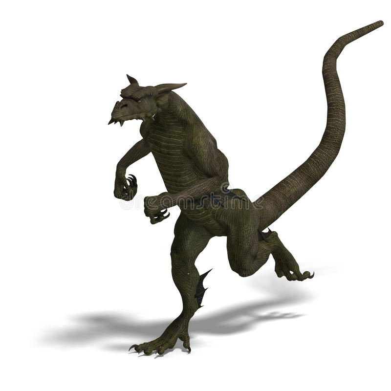 Member of the fantasy dragon folk. 3D rendering of a Member of the fantasy dragon folk with clipping path and shadow over white stock illustration