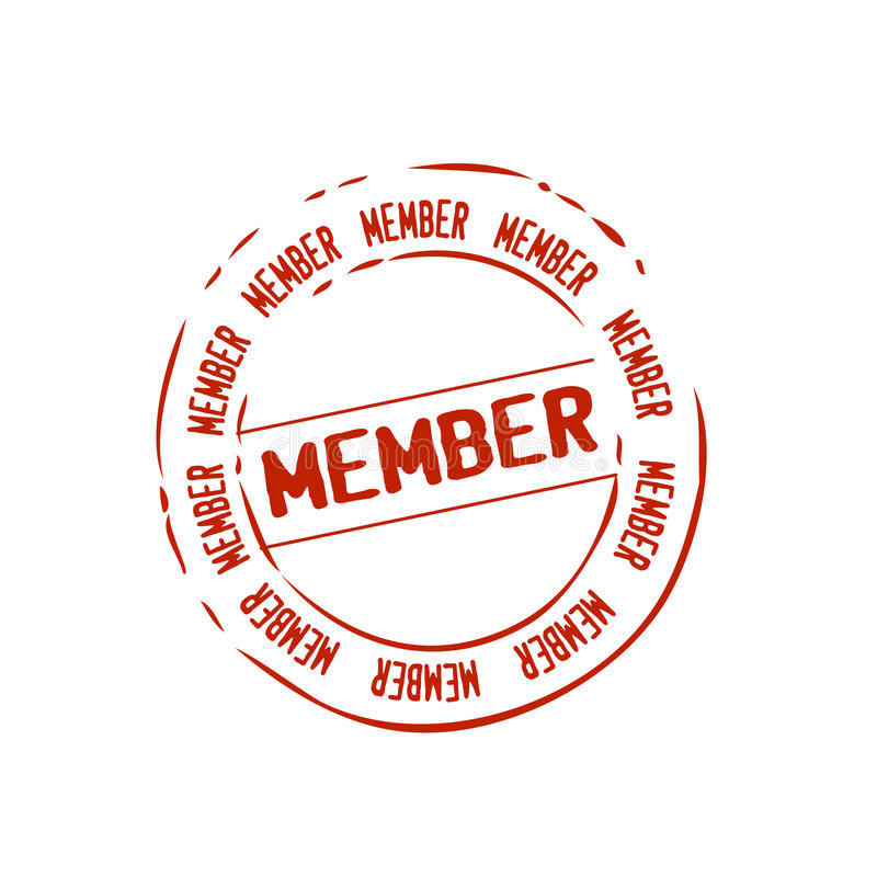 Member stamp vector. Vectored illustration for old style rubber stamp, as post office, for member or membership status on communities, sites and networks, could
