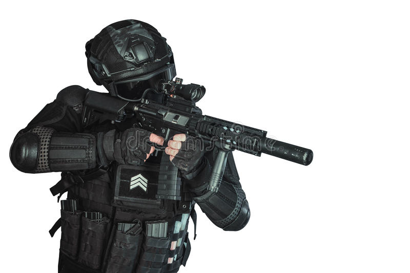 Member of the SWAT team stock photos