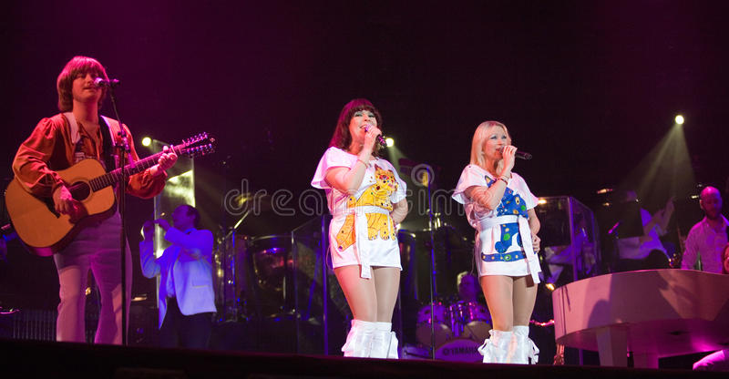 Members of the ABBA The Show performs stock photo