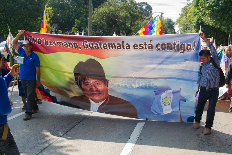 Guatemala Political Organization Protest Exile of Evo Morales and situation in Bolivia. Members of CODECA, which stands for Comite de Campesinos, a strong stock photography