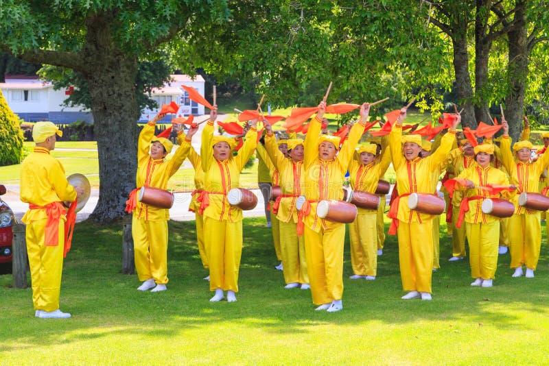 Members of Falun Dafa practicing dancing in a Rotorua park. Falun Dafa, also known as Falun Gong, is a Chinese spiritual practice that has spread to many stock photo