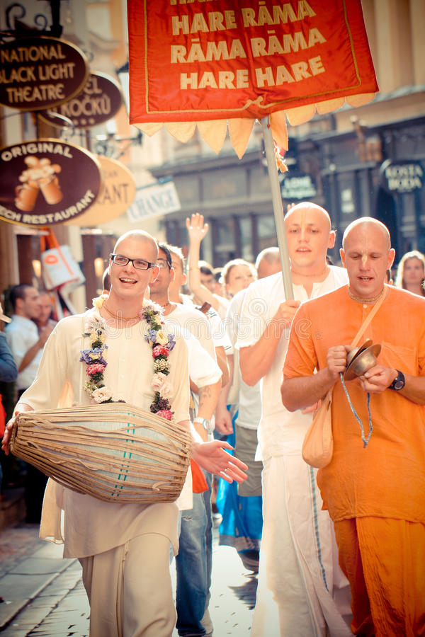 Members of Hare Krishna chanting and dancing. Unidentified members of Hare Krishna chanting and dancing on 17th August 2012 on the streets of Prague in Czech stock images