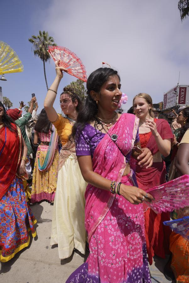 Festival of the Chariots. Members of the Hare Krishna community walk ahead of a chariot during the Festival of the Chariots stock image