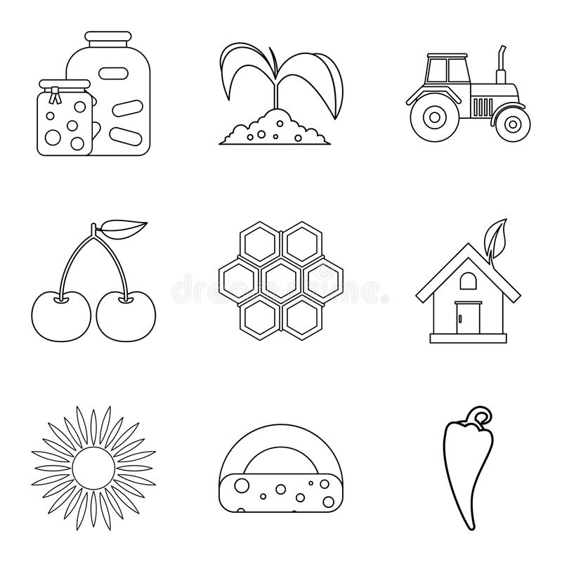 Members of household icons set, outline style stock illustration