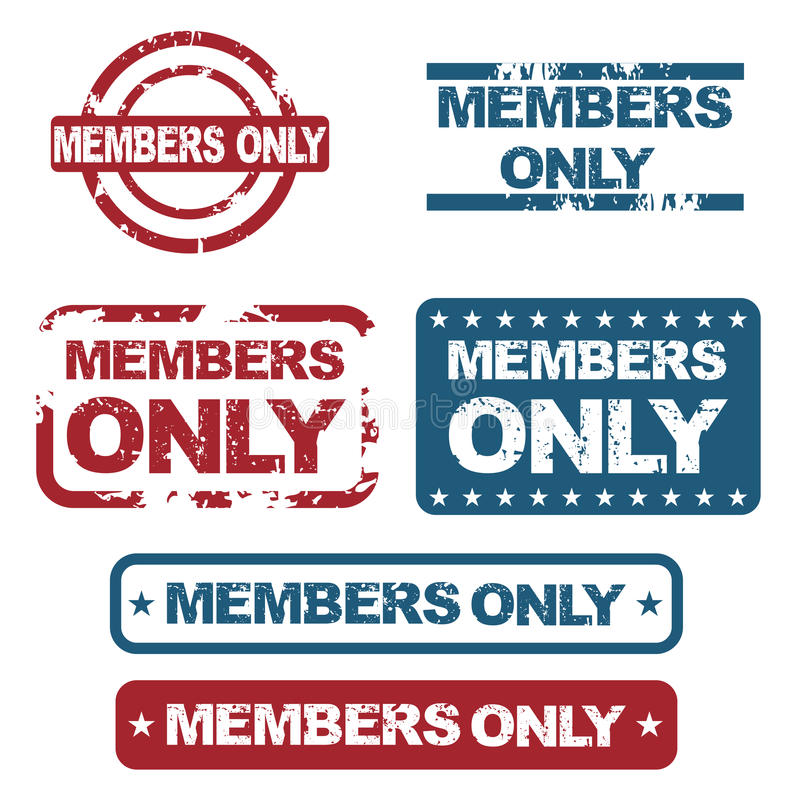 Members only stamps. Set of six grunge members only stamps isolated on white background.EPS file available