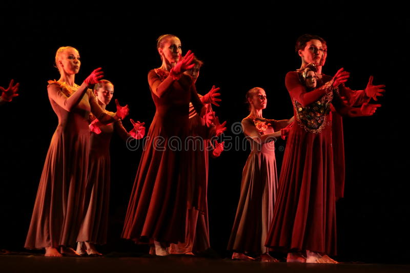 Members of the Yevgeny Panfilov Ballet Studio from Perm perform Romeo and Juliet during IFMC on November 22, 2013 in Vitebsk, Be. VITEBSK, BELARUS - NOVEMBER 22 stock images