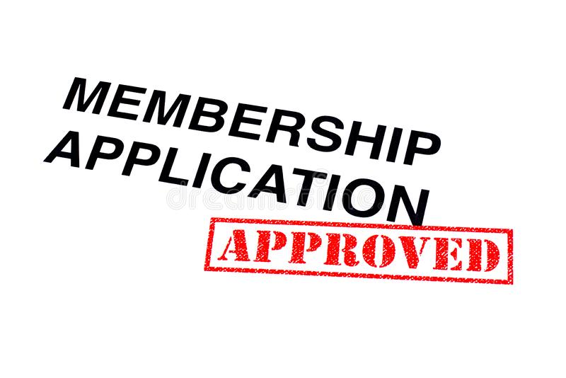 Membership Application Approved. Membership Application heading stamped with a red APPROVED rubber stamp royalty free stock images