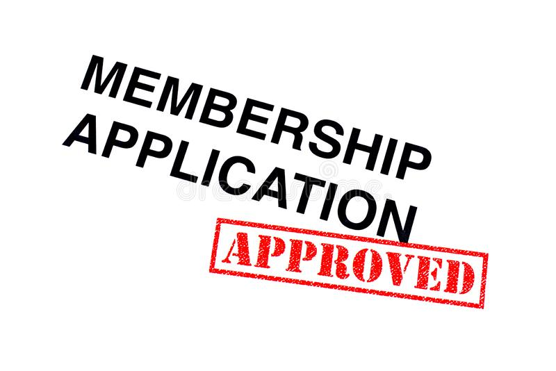Membership Application Approved. Membership Application heading stamped with a red APPROVED rubber stamp stock photography