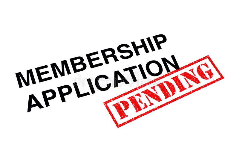 Membership Application Pending. Membership Application heading stamped with a red PENDING rubber stamp stock photo