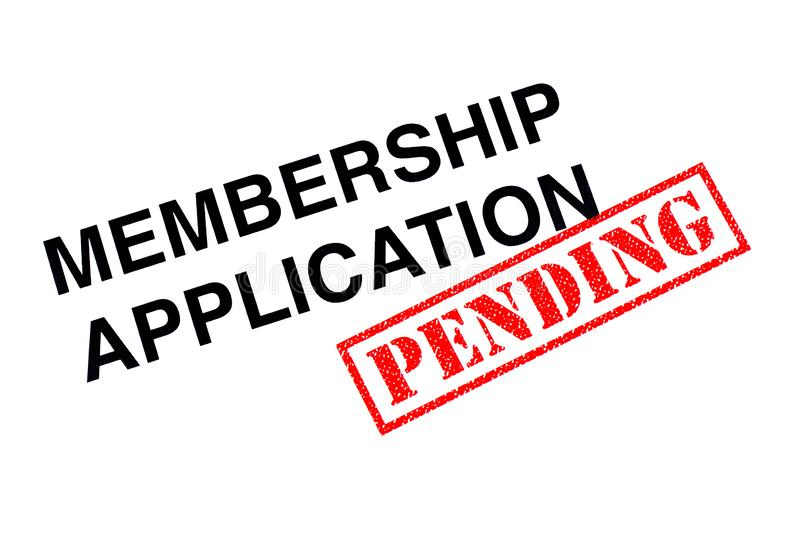 Membership Application Pending. Membership Application heading stamped with a red PENDING rubber stamp royalty free stock photos