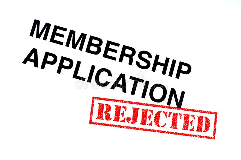 Membership Application Rejected. Membership Application heading stamped with a red REJECTED rubber stamp stock images