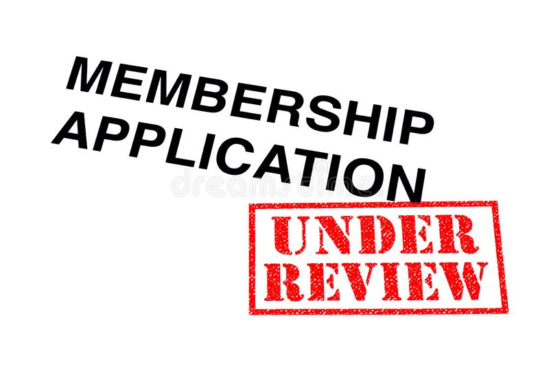 Membership Application Under Review. Membership Application heading stamped with a red UNDER REVIEW rubber stamp stock photos