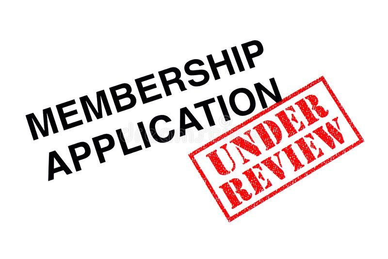 Membership Application UNDER REVIEW. Membership Application heading stamped with a red UNDER REVIEW rubber stamp stock images