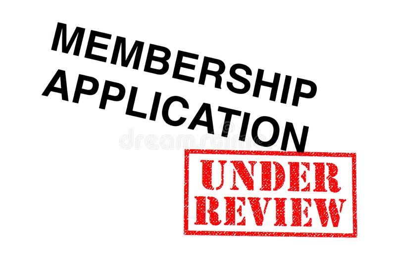 Membership Application Under Review. Membership Application heading stamped with a red UNDER REVIEW rubber stamp royalty free stock image
