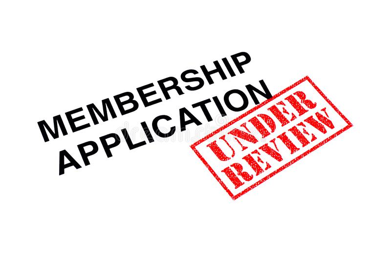 Membership Application Under Review. Membership Application heading stamped with a red UNDER REVIEW rubber stamp royalty free stock photography
