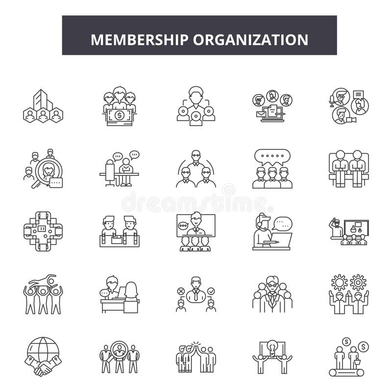 Membership organization line icons, signs, vector set, linear concept, outline illustration. Membership organization line icons, signs, vector set, outline vector illustration