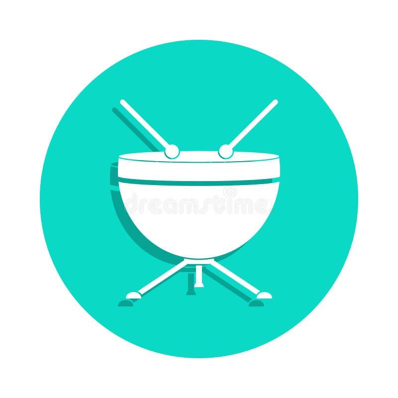 Membranofon ikona w odznaka stylu Jeden Muzycznych instrumentów inkasowa ikona może używać dla UI, UX ilustracji