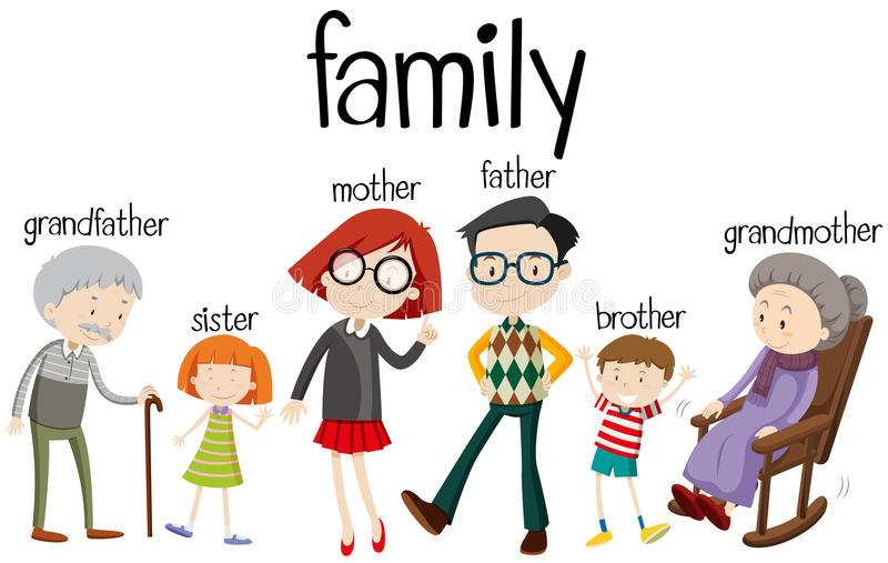 Membres de la famille avec trois générations illustration stock