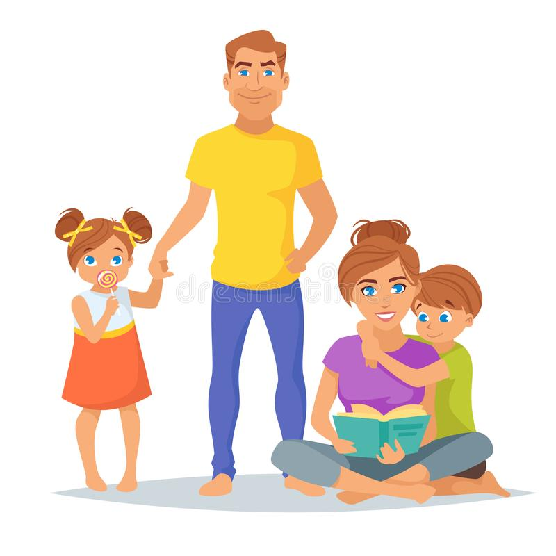 Membres de la famille caucasiens, parents illustration de vecteur
