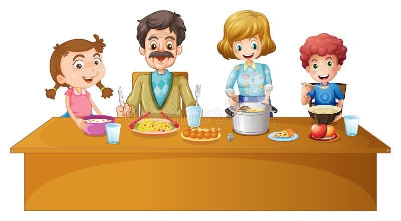 Membres de la famille dînant à la table illustration de vecteur