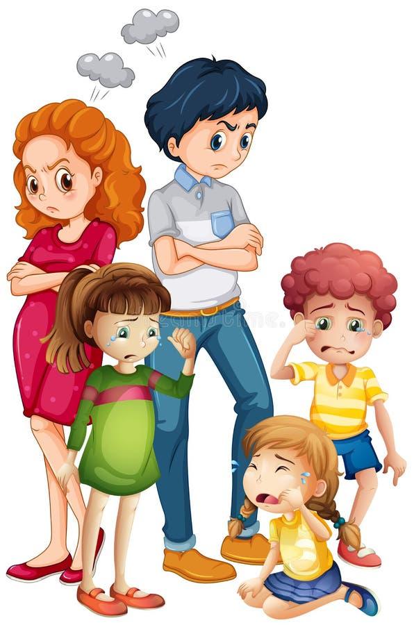 Membres de la famille dans des modes de renversement illustration stock
