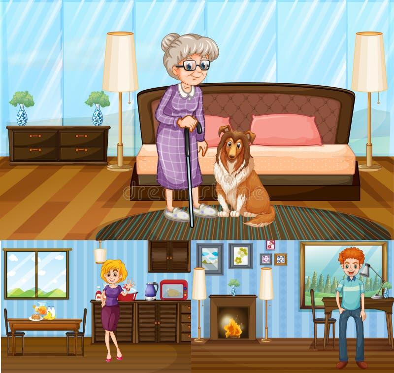 Membres de la famille dans la maison illustration de vecteur