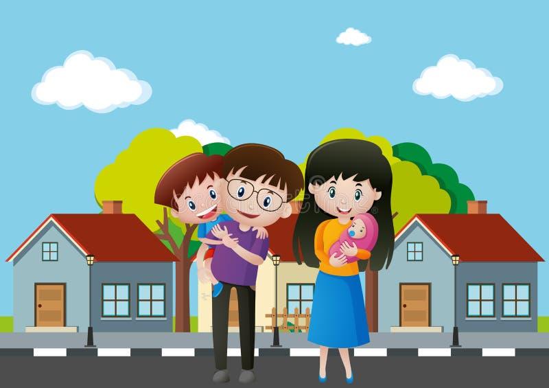 Membres de la famille devant la maison illustration de vecteur