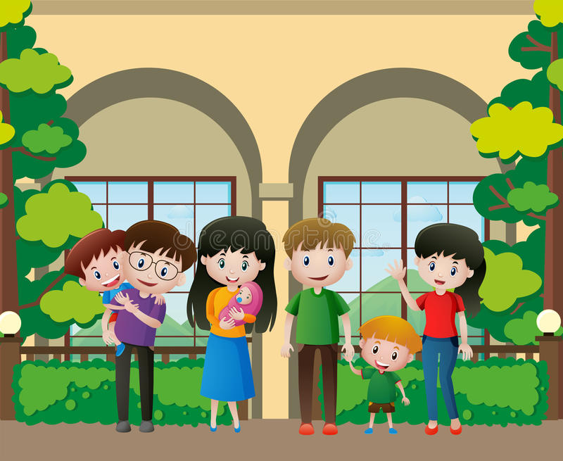 Membres de la famille en parc illustration stock