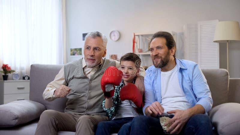 Membres de la famille enthousiastes de multiage encourageant pour le jeu de observation de boxeur pr?f?r? ? la TV image stock