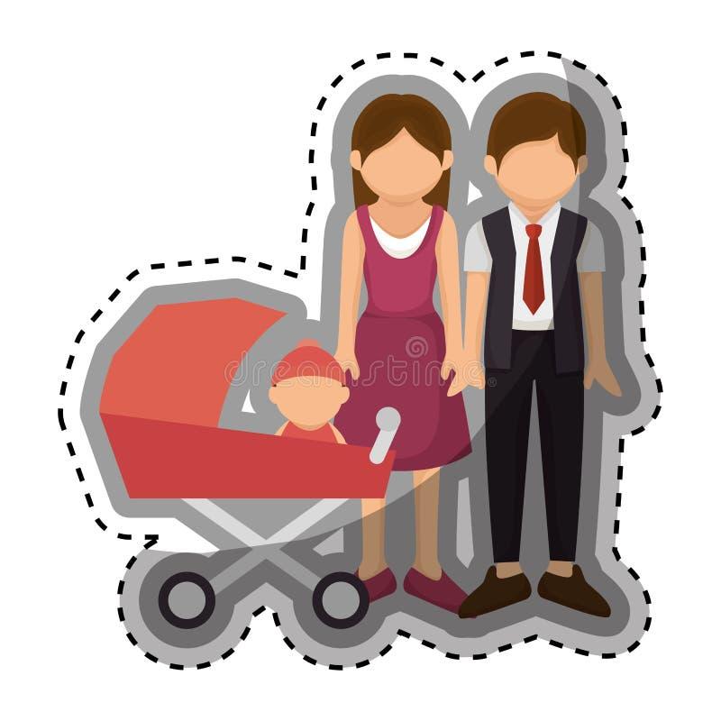 Download Membres De La Famille Heureux Avec Le Bébé Illustration de Vecteur - Illustration du membres, verticale: 87704508