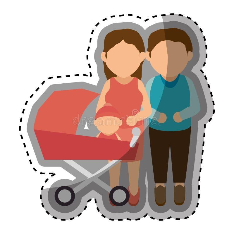 Download Membres De La Famille Heureux Avec Le Bébé Illustration de Vecteur - Illustration du adulte, membres: 87704568