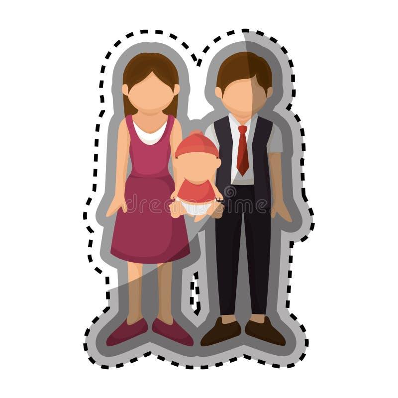 Download Membres De La Famille Heureux Avec Le Bébé Illustration de Vecteur - Illustration du heureux, personne: 87704679