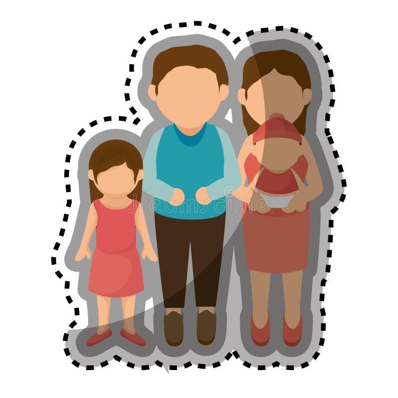 Download Membres De La Famille Heureux Avec Le Bébé Illustration de Vecteur - Illustration du verticale, isolement: 87704731