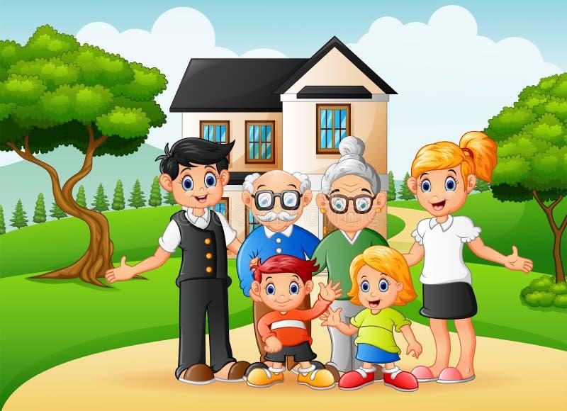 Membres de la famille heureux de bande dessinée dans la cour de la maison illustration de vecteur