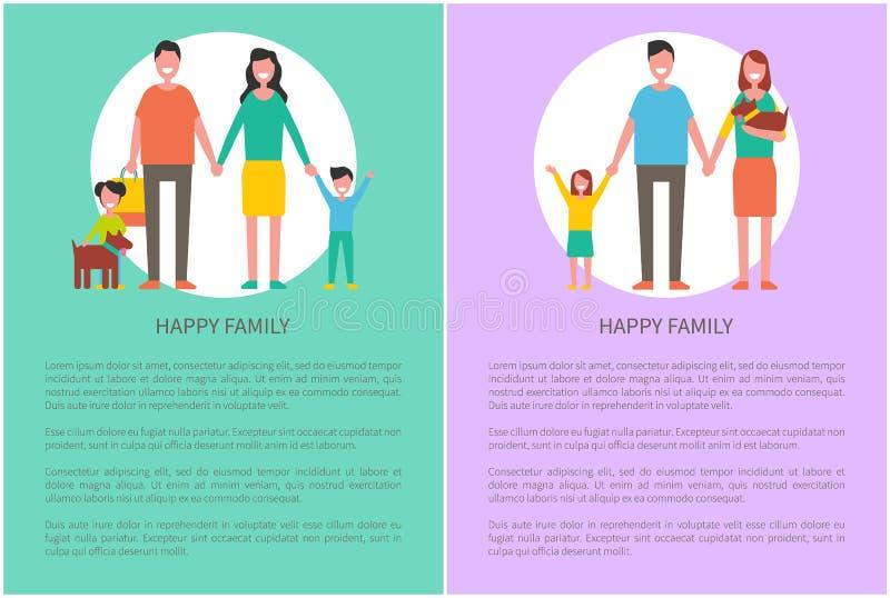 Membres de la famille heureux mère, père, fils, fille illustration libre de droits