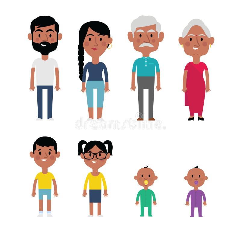 Membres de la famille plats d'Indien de vecteur Parents, grands-parents, enfants illustration libre de droits