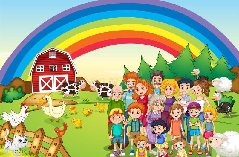 Membres de la famille vivant à la ferme illustration stock