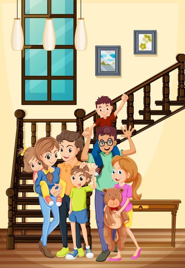Membres de la famille vivant dans la maison illustration stock